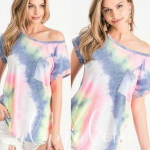 Tie Dye Short Sleeve Top, MADE IN USA